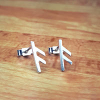 Silver rune post earrings