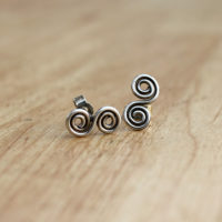 Silver double spiral post earrings