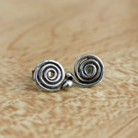 Silver single spiral post earrings