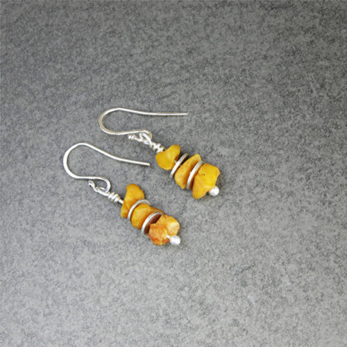 amber chip earrings