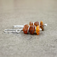 Amber earrings with silver discs - cognac