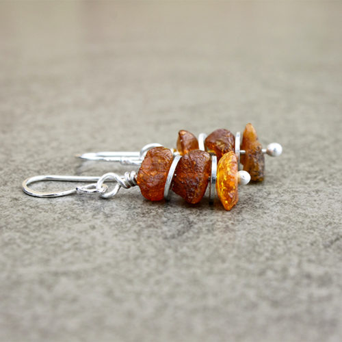 amber cognac earrings