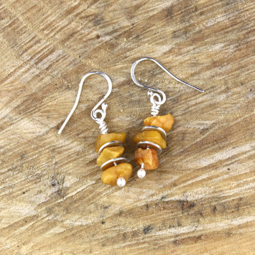 amber earrings light