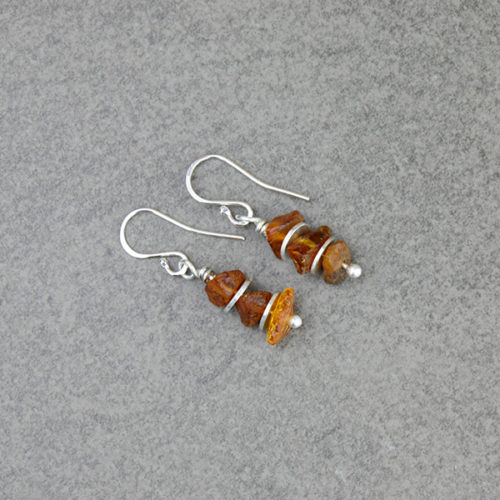 amber earrings silver